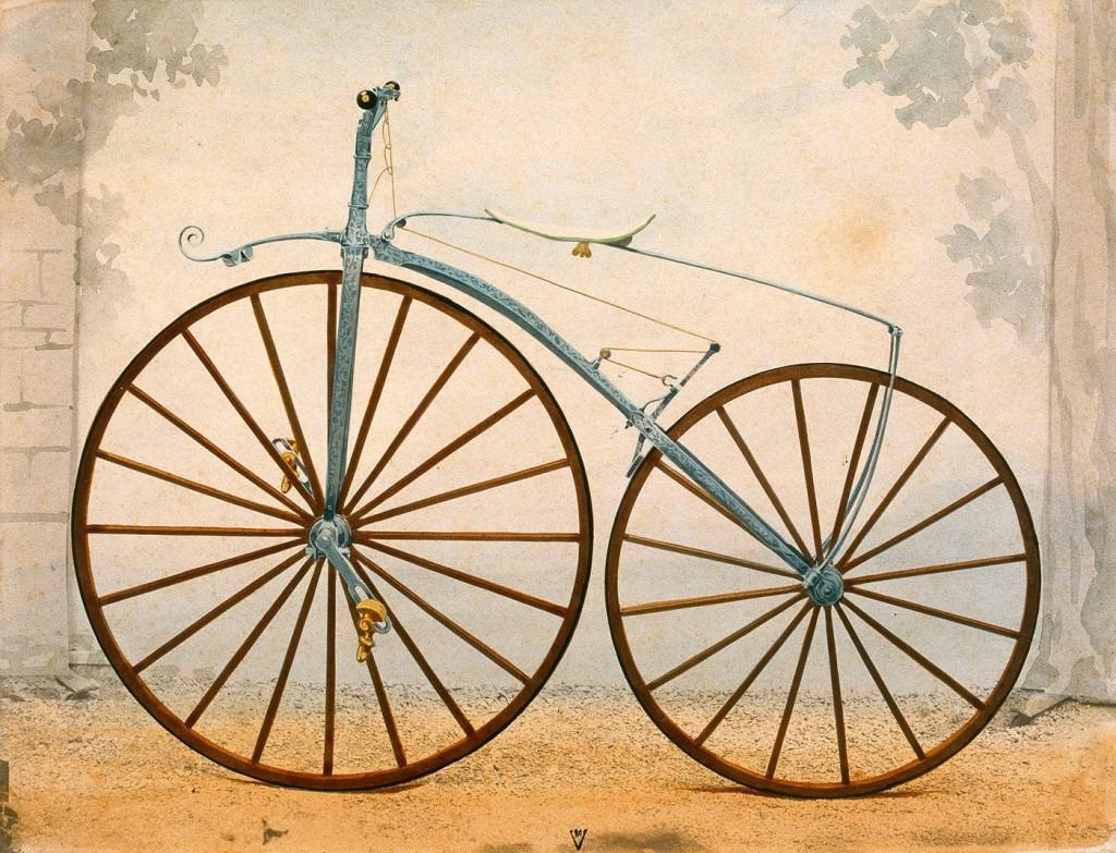Velocípedo de Michaux. A falta de la transmisión ya tiene todos los elementos de una bicicleta actual.